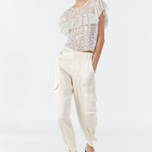 NWT Zara Cargo satin pants
